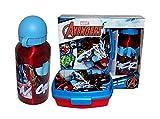 Theonoi 2 Teile Kinder Frühstück Set – wählbar: Cars – Paw Patrol – Spiderman – Avengers. 1 x Brotdose Sandwichbox UND 1 x Aluminiumflasche/Trinkflasche Aluminium für Jungen (Avengers)