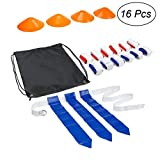 VORCOOL 16 Pcs Flag Football Set 12 Cinture 4 Coni Accessori allenamento calcio per giocatore di football