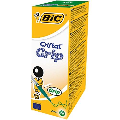 BIC Cristal Grip - Bolígrafos con tapa (trazo de 0,4 mm, 20 unidades), color verde