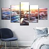 mmwin Arte de la Pared Decoración del hogar Nave Espacial Mar Amanecer Paisaje HD Imprimir Moderno Cartel Modular Picture For Gift