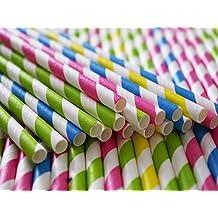 Pajitas de papel biodegradables de lujo hechas a mano, 100 unidades, multicolor, para uso diario, fiesta, bodas, celebraciones con 2 libros electrónicos ...