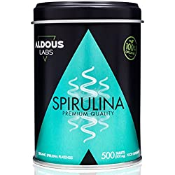 Premium Organic and Organic Spirulina for 110 days | 500 500mg tablets | Food supplement with 99% of BIO Spirulina | 100% Natural | High concentration of Vegetable Protein | Provides Energy and Vitality | Saciante Supplement - Antioxidant - Detox | Vegan Superfood | Ethical, Sustainable and Free Plastic Product | Official Ecological Certification by Ecocert and CAAE |