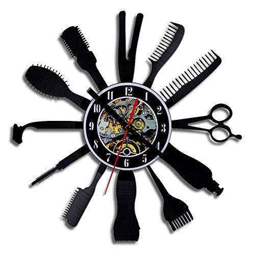 BABYQUEEN Retro kreative Friseur tools Wanduhr Schallplatten Indoor Dekorationen klassische Handarbeit Kunst Uhr (Handarbeiten-tool)