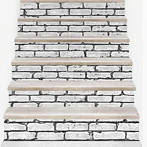 BAIVIT Adesivo per Scale in Pietra 6 Pezzi/Set Modello in Mattoni Adesivo da Parete Autoadesivo Impermeabile Home Decor Soggiorno 18X100cm,White