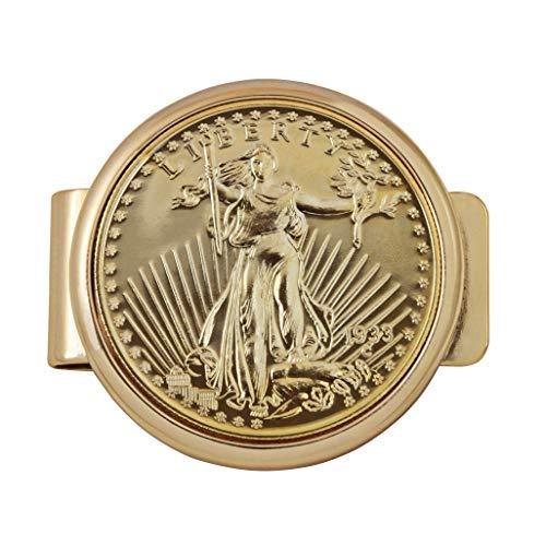 American Coin Treasures Geldklammer für Münzen, Goldfarben, Motiv: Tribute To 20 Dollar 1933 Saint Gaudens Doppeladler, Goldfarben -