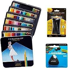 Prismacolor juego de calidad–Premier lápices de colores 132unidades), Premier sacapuntas 1unidades y sin látex académico goma de borrar 1unidades