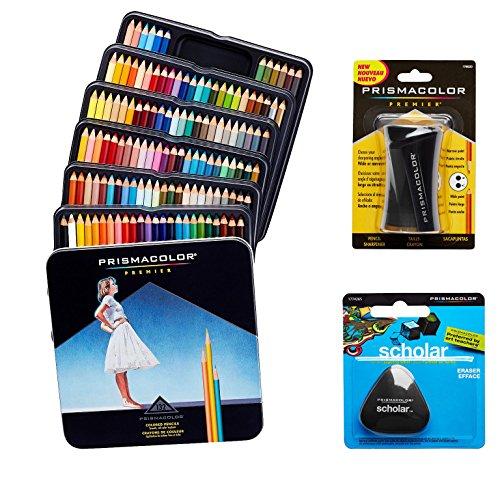 Crayons de couleur Prismacolor Premier Set qualité Art–132Lot, fille Crayon Taille-crayon 1Pack et sans latex Gomme Scholar 1Pack