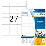 Herma 4347 Universal Etiketten ablösbar (63,5 x 29,6 mm) weiß, 675 Aufkleber, 25 Blatt DIN A4 Papier matt, bedruckbar, selbstklebend, Movables