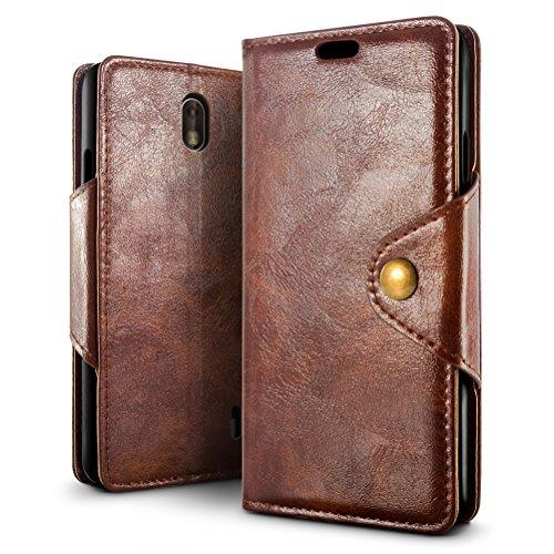 SLEO Nokia 1 Hülle, Retro PU Lederhülle Wallet Deckel mit Kartensteckplätze Tasche für Nokia 1 - Kaffee