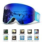 Lunettes de Ski, OUTAD Masques Snowboard de Protection avec UV 400, Ski Goggles Coupe-Vent, Lentilles Antiéblouissant & Anti-poussière & Anti-Buée pour Hommes et Femmes (Bleu)