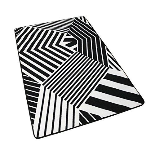 Preisvergleich Produktbild ANDEa Einfache schwarze und weiße Teppich Wohnzimmer Teppich Küche rutschfeste Matte Fuß Pad Schlafzimmer Bedside Decke Crawling Mat Originalität ( größe : 100*150CM )