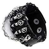 JOVIVI Punk Genuine Leather Cuff Bracelet Wristband Bullet with Skull Style