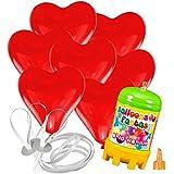 15 Herz Luftballons mit Helium Ballon Gas Hochzeit Valentinstag Komplettset (Rot)