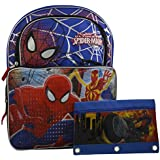 """Marvel Spiderman Boys' 16"""" Deluxe School 3D Pop Out Backpack W/ Bonus Stationery (BLUE POUCH)"""