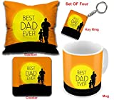 #7: Happy Father's day Printed Gifts Combo Printed 12X12 Cushion with Filler, Coaster & Best Quality Ceramic Mug Perfect Gifts for your Best Dad