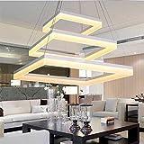 110W Quadrat LED Pendelleuchte Wohnzimmer Licht 3-Lights Dining Schlafzimmer Acryl Pendelleuchte Elegante Angelschnur Anhänger Deckenleuchte Moderne Einfache Deckenbeleuchtung Dimmen 3000K-6000K