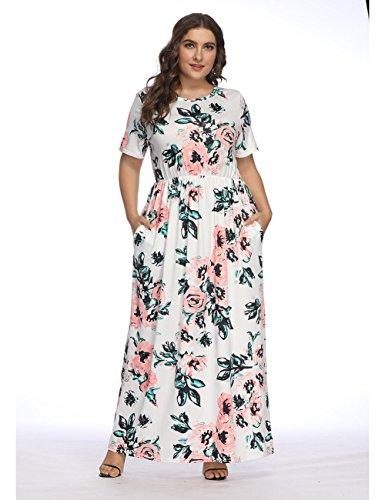FeelinGirl Kleider Damen Blumen Kleid Elegant Langarm Maxikleid Floral Print Böhmischen Strand Maxi...