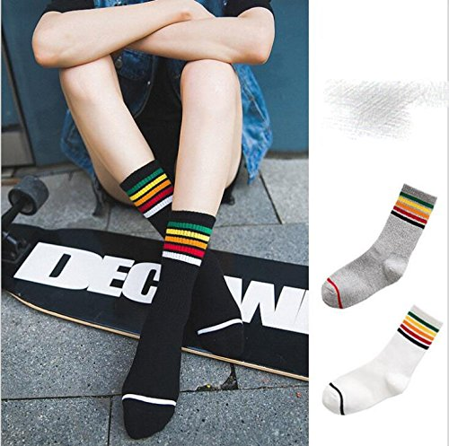 Alamor 3-pack 2018 New Rainbow Stripe Socks In The Autumn And Winter Street Wind Socks In The Tube Skateboard Socks Simple And Comfortable Breathable Fashion Popular