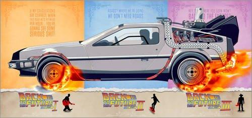 Poster 120 x 60 cm: Back to the Future - DeLorean trilogy Alternative Fanart di HDMI2K - stampa artistica professionale, nuovo poster artistico