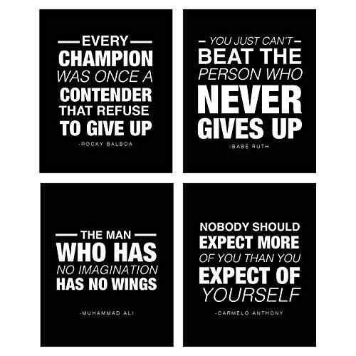 (4Stück) Motivierendes Zitat Workout Gym Poster 8x 10Inspirierende Teen Boy Girl Leichtathlet Fitness Erfolg Sport Ziel Hard Work Decor. Ideal für Klassenzimmer Poster und Gym Decor. (Sports Vol 1)