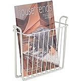 mDesign revistero - Revistero pared para el baño, la cocina o la oficina - Revistero pared metálico para libros y revistas - Color blanco perla