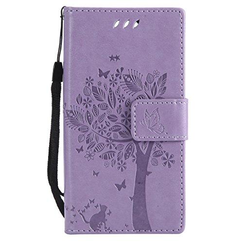 Chreey Huawei Mate 10 Pro Hülle, Prägung [Katze Baum] Muster PU Leder Hülle Flip Case Wallet Cover mit Kartenschlitz Handyhülle Etui Schutztasche [Hell lila]