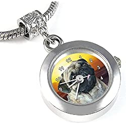 Pug reloj para el collar o pulsera diseño pug en el amanecer