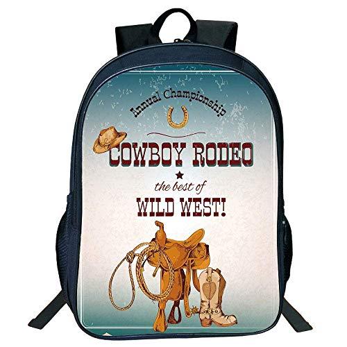 HOJJP Schultasche Stylish Unisex School Students Western,Cowboy Rodeo Ship The Best Wild West Poster Design s Decorative,Blue Burgundy Orange Kids.