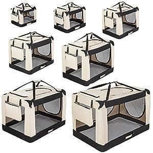 TecTake Cage Box de Transport pour Chien Chat Pliable Beige - diverses tailles au choix -