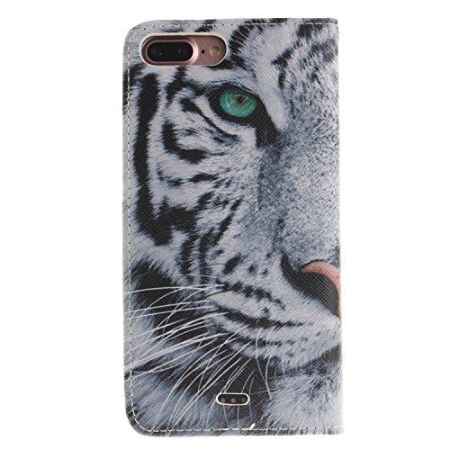 MOONCASE iPhone 7 Plus Étui, [Tiger] Conception de Modèle Housse Pochette en PU Cuir Etui à rabat Portefeuille [Porte-cartes Fentes ] TPU Intérieur Case avec Béquille pour iPhone 7 Plus 5.5 Inch(2016) Tiger