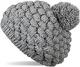styleBREAKER Grobstrick Bommelmütze mit Noppenstrick Muster, Strickmütze, Mütze mit Bommel, Damen 04024126, Farbe::Grau