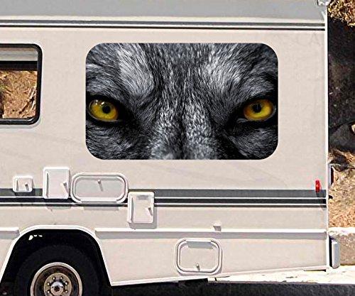 3D Autoaufkleber böser Wolf gelbe Augen Tier wild Gefahr Wohnmobil Auto KFZ Fenster Motorhaube Sticker Aufkleber 21A937, Größe 3D sticker:ca. 45cmx27cm