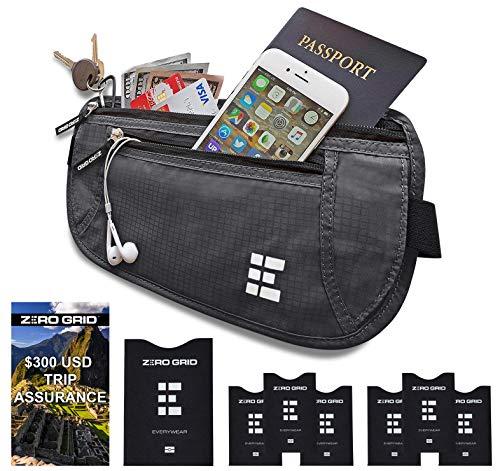 Cinturón Viaje Dinero Bloqueo RFID - Cartera Documentos