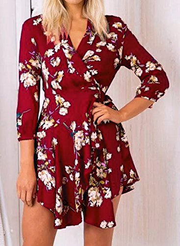 Futurino Women's Sexy Floral Print 3/4 Sleeve Summer A Line Wrap Mini Dress Burgundy