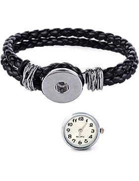 Morella® Damen Click-Button Set geflochtenes Armband schwarz und Druckknopf Uhr weiß