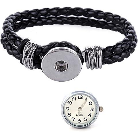 Morella donna Click-button Set braccialetto intrecciato nero e bottone automatico orologio bianco
