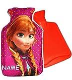 alles-meine.de GmbH Wärmeflasche -  Disney die Eiskönigin - Frozen - Anna  - 0,75 Liter - incl. Name - mit extra weichen Plüsch Bezug - Wärmflasche - wärmen + kühlen - Kinderwä..