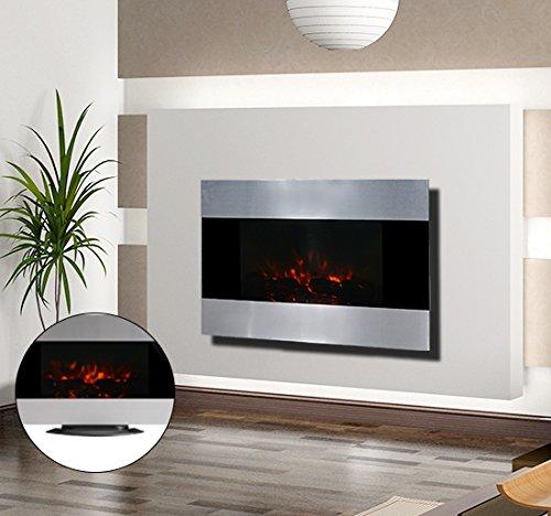 Chimenea Electrica de Pared 90x9,5x56 cm Chimeneas y Estufas LED Color Plata NUE