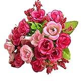 happy event Unechte Blumen | 2 Bündel 21 Köpfe Rose Künstliche Deko Blumen Gefälschte Blumen | Braut Hochzeitsblumenstrauß für Haus Garten Party Blumenschmuck (Rosa)