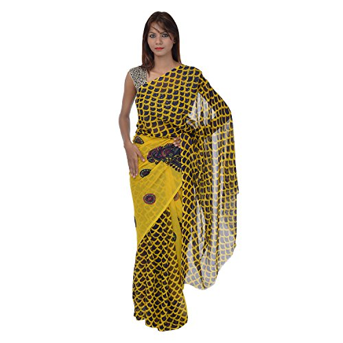 Saundarya Sarees Women Chiffon Printed Black and Yellow Saree