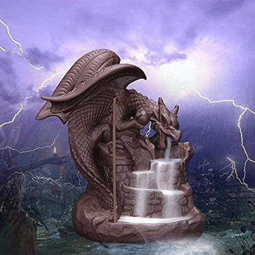 Quemador incienso cerámica efecto cascada dragón