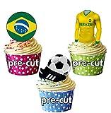 Lot de 12 Décorations comestibles pour cupcakes/gâteaux - Coupe du Monde de football 2018, Maillot de l'équipe du Brésil, Drapeau, Ballon et chaussure