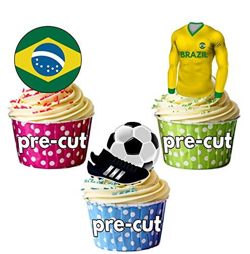 Cupcake-/Kuchendekoration, vorgeschnitten, essbar, Brasilien Fußballtrikot, Flagge und Ball mit...