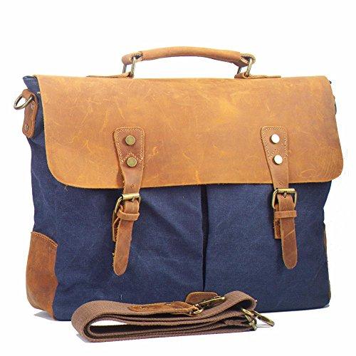 DoubleMay Herren Vintage Canvas Leder Aktentasche Messenger Bag Umhängetasche ideal für Studium Büro oder Freizeit Outdoor 37 x 11 x 30 cm (Dark coffee) Blau-Größer