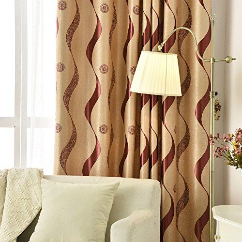 adaada Modern Stil Gestreifte Vorhänge Luxus Vorhänge Wohnzimmer,2er Set (Rot, 245X140cm) -