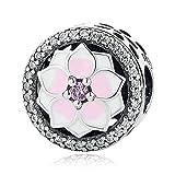 PANDOCCI 2017 colección de Primavera DIY se Adapta a la Pulsera Original de Pandora auténtica Plata de Ley 925 Magnolia Bloom Button Charm Bead Jewelry