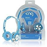 Casque bleu audio pliable, rotatif à 90 degrés et avec des coussinets en gel avec fiche 3.5 mm.