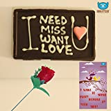 #8: BOGATCHI Handwritten Personalized Dark Chocolate Bar + FREE - Red Rose + FREE Valentine's Day Greeting Card. A Personalized Valentines Gift.