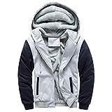 SUCES Mens Hoodie Winter warme Fleece Zipper Sweater Jacke Outwear Mantel Herren Jacke Hoodie Strickjacke Pullover Kapuzenpullover Jacke Sweatjacke Zipper Sweatshirt Strick(GrauE,M)