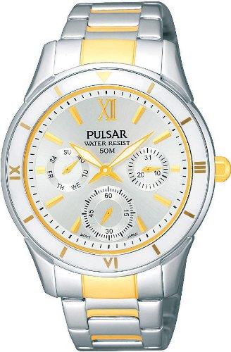 Pulsar Uhren Sport PP6053X1 - Reloj analógico de cuarzo para mujer, correa de acero inoxidable multicolor